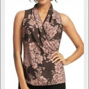 CAbi Gray & Pink Sleeveless Floral Faux Wrap Top